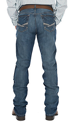 Cinch Men's Ian Slim Dark Wash Wash Cross Hatch Boot Cut Jeans
