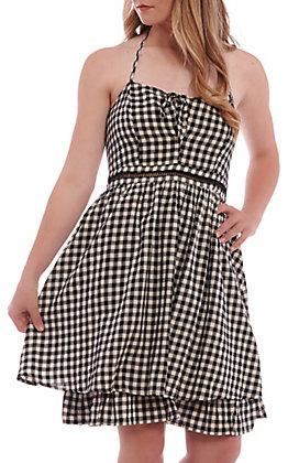 Hem & Thread Women's Black And White Gingham Halter Dress