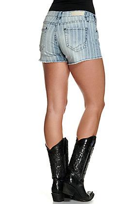 Rock & Roll Denim Women's Light Wash with Stripes Cut Off Stretch Shorts