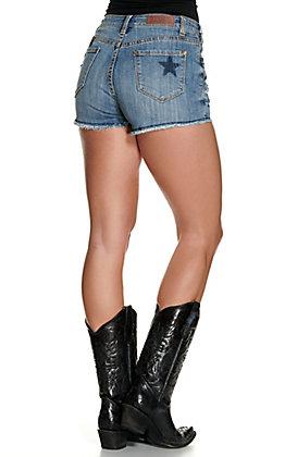 Rock & Roll Cowgirl Women's Medium Wash with Stars Print Cut Off High Rise Shorts