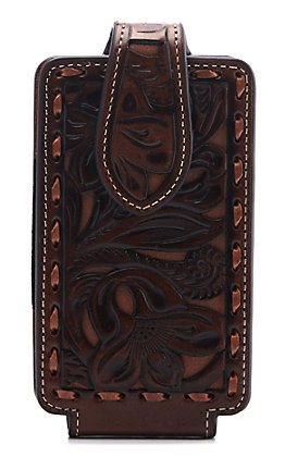 Nocona Brown & Tan Floral Embossed Leather Cell Phone Case