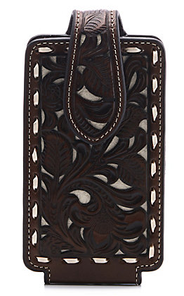 Nocona Brown & Ivory Floral Embossed Leather Cell Phone Case
