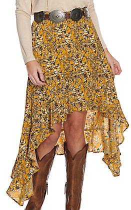 Rock & Roll Cowgirl Women's Mustard Floral Print Hi-Lo Handkerchief Skirt