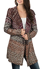 Ethyl Women's Maroon Sweater Cardigan