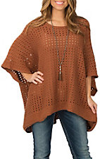 Ethyl Women's Rust Holey Poncho Sweater