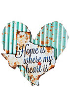 Evergreen Light Blue Heart with White Texas Wall Art