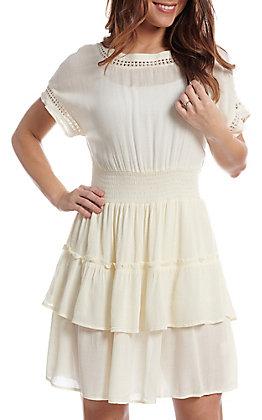 Newbury Kustom Women's Ivory Ruffle Short Sleeve Dress