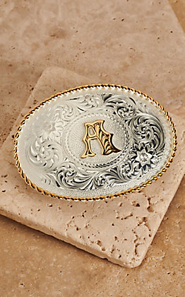 "Montana Silversmiths Silver with Gold Oval ""A"" Buckle"