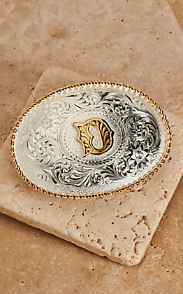 "Montana Silversmiths Silver with Gold Oval ""D"" Buckle"