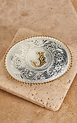 "Montana Silversmiths Silver with Gold Oval ""J"" Buckle"