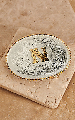 "Montana Silversmiths Silver with Gold Oval ""N"" Buckle"