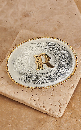 "Montana Silversmiths Silver with Gold Oval ""R"" Buckle"