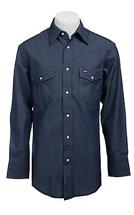Wrangler Rigid Denim Long Sleeve Workshirt- Neck & Sleeve Big & Tall Sizes