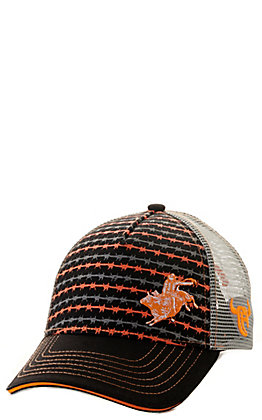 Cowboy Hardware Toddlers' Black and Orange Barbwire Bull Rider with Grey Mesh Back Cap