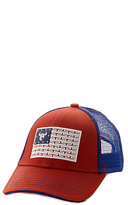 Cowboy Hardware Toddlers' Red and Blue with Skull Flag Patch Mesh Back Cap