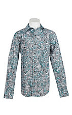 Cinch Boy's Turquoise, Grey, and White Paisley Print Long Sleeve Western Shirt