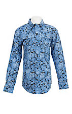 Cinch Boy's Blue Paisley Print L/S Western Snap Shirt