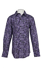 Cinch Boys Purple Paisley Print L/S Western Snap Shirt