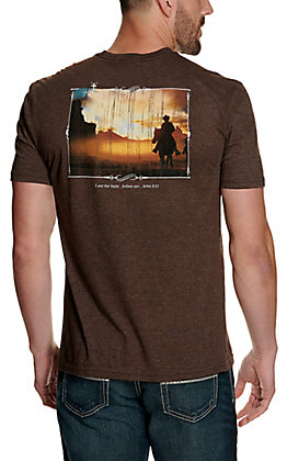 Cowboy Hardware Men's Heather Brown Cowboy I Am the Light Short Sleeve T-Shirt