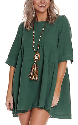 Newbury Kustom Women's Hunter Green Tiered Short Sleeve Babydoll Dress