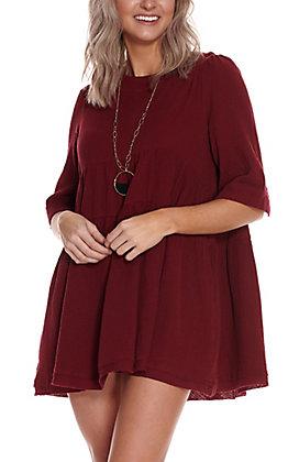 Newbury Kustom Women's Wine Tiered Short Sleeve Babydoll Dress