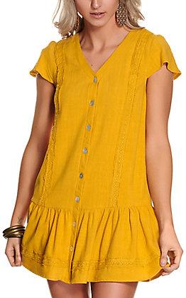 Newbury Kustom Women's Mustard with Lace Button Down Short Sleeve Dress