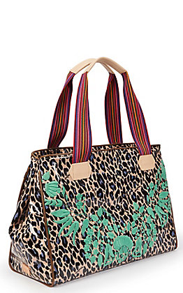 Consuela Bettie Leopard Print with Floral Embroidery Grande Tote Bag