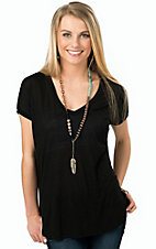 Karlie Women's Black V-Neck Tunic Tee