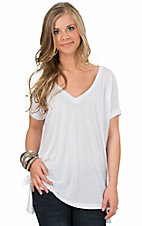 Karlie Women's White V-Neck Tunic Tee