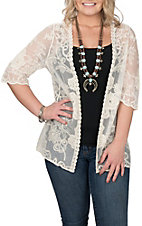Cowgirl Legend Women's Ivory Lace 3/3 Scalloped Sleeve Cardigan