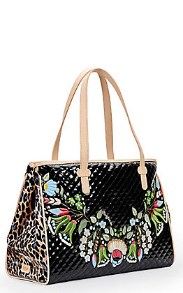 Consuela Ezzy Black Quilted with Floral Embroidery and Leopard Print Grande Tote