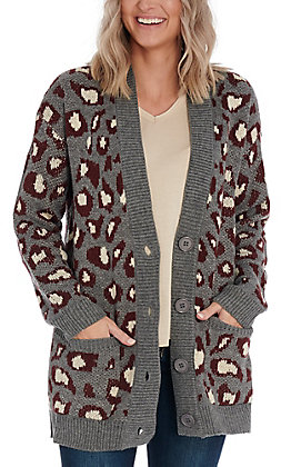 Hem & Thread Women's Grey & Wine Leopard Print Cardigan