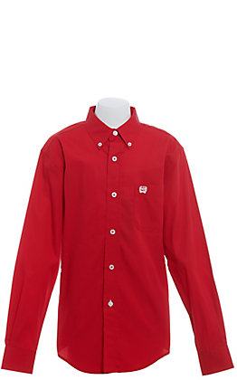 Cinch Boys' Solid Red Fine Weave Long Sleeve Western Shirt
