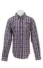 Cinch L/S Boys Purple Plaid Shirt