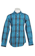 Cinch Boy's Blue and Green Plaid Long Sleeve Western Shirt
