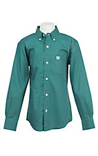 Cinch Boy's Geen and Blue Mini Print Long Sleeve Western Shirt