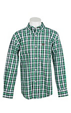 Cinch Boy's Green and Black Plaid Long Sleeve Western Shirt
