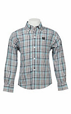 Cinch Boy's Grey, Teal, and White Plaid L/S Western Shirt