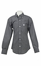 Cinch Boy's Black and White Print L/S Western Shirt