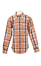 Cinch Toddler Orange and White Plaid L/S Western Shirt