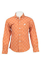 Cinch Boy's Orange and White Print L/S Western Shirt