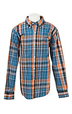 Cinch Toddler Orange and Blue Plaid L/S Western Shirt