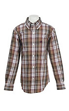 Cinch Boys Brown and White Plaid L/S Western Snap Shirt