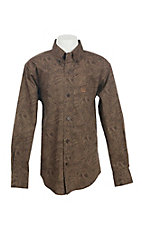 Cinch Boys Brown Paisley Print L/S Western Snap Shirt