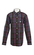 Cinch Boys Burgundy Plaid L/S Western Snap Shirt