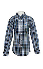 Cinch Boy's Blue & Grey Plaid Western Shirt