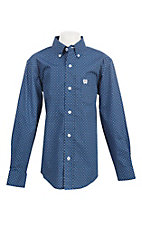 Cinch Boy's Blue Small Print L/S Western Shirt
