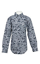 Cinch Boy's Navy Paisley Print L/S Western Shirt
