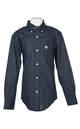Cinch Boys' Navy Polka Dot Print L/S Western Shirt