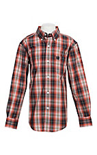 Cinch Boy's Orange, Khaki and Black Plaid L/S Western Shirt